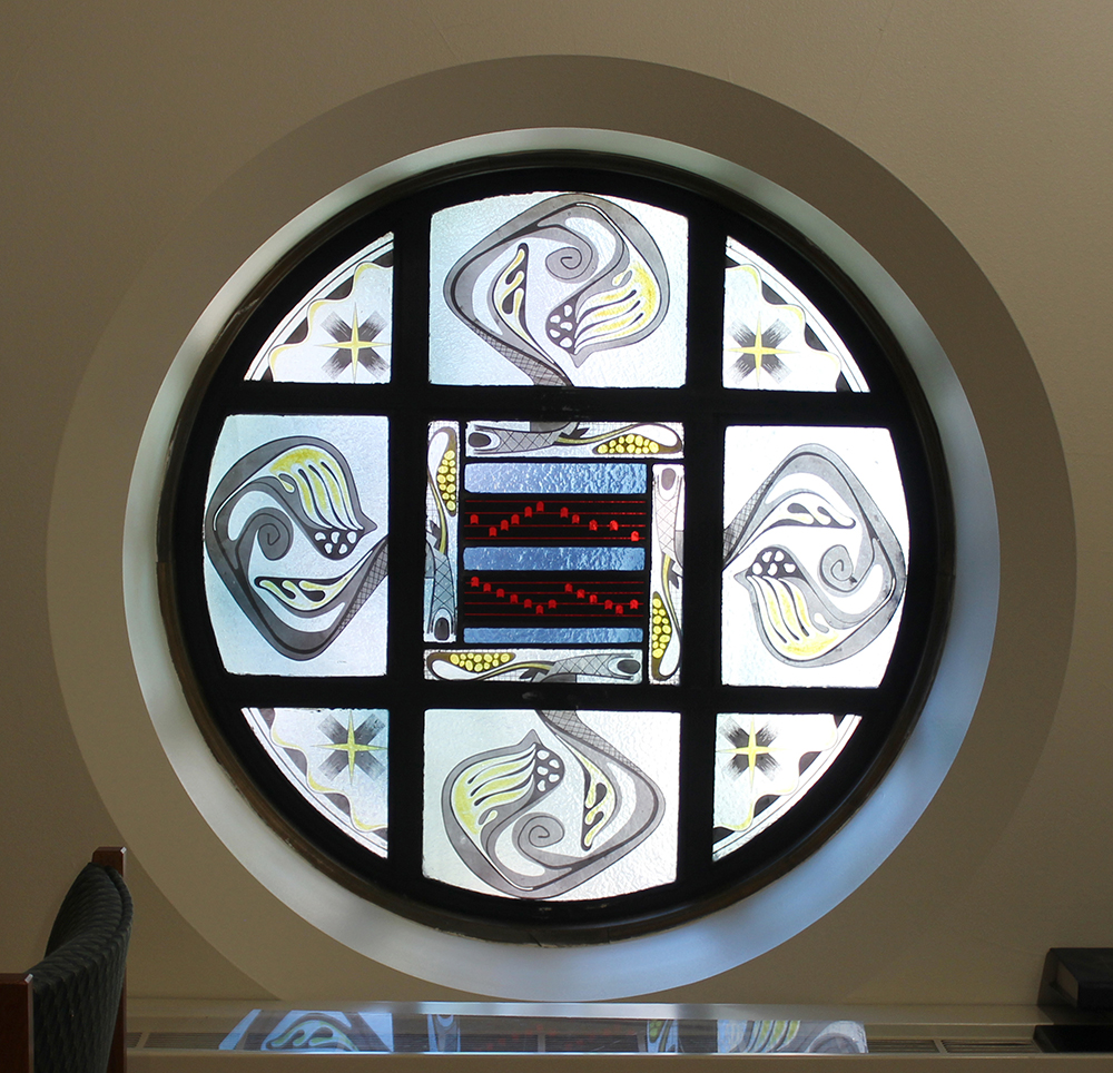 Sisters of charity of cincinnati features in the choir loft two windows celebrate the importance of music within the church on one side a staff with four lines of gregorian notes symbolize the biocorpaavc Gallery