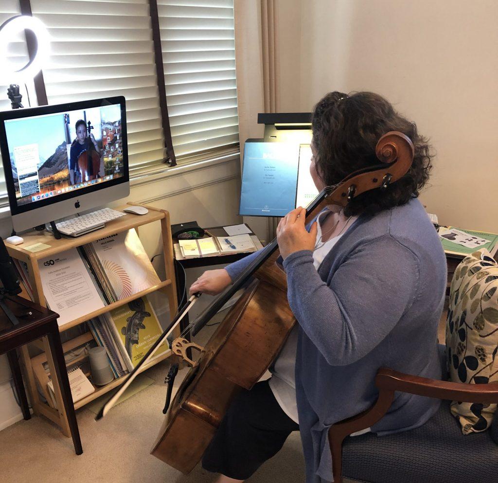 Teaching cello on-line